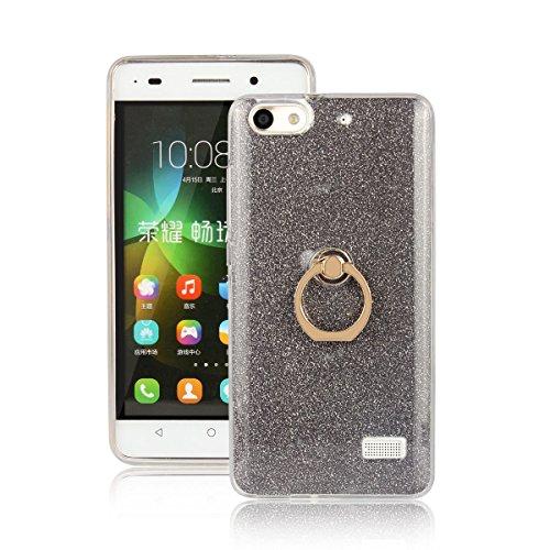 pinlu Custodia Per Huawei G Play Mini/Honor 4C Brillare Scintillare Silicone TPU Custodia in Silicone Premium Flessibile anti Scivolo con Fibbia ad Anello Disegno Nero