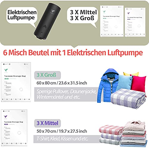 Vakuumbeutel für Kleidung mit Elektrische Luftpumpe Tragbare, 6 Kompressions Beutel Aufbewahrungsbeutel (3/50x70+3/60x80) Platz Sparen Wiederverwendbare für Bettdecken Winterkleidung Reise und Schrank