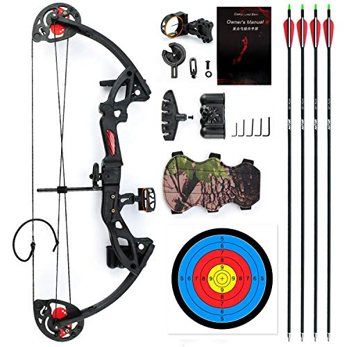 "E-ROCK Youth Compound Bow and Arrow Set with 4pcs Carbon Arrows Archery for Beginner Teenagers, Right Handed, 19""-28"" Draw Length, 15-29lbs Draw Weight Archery Hunting Equipment (Black)"