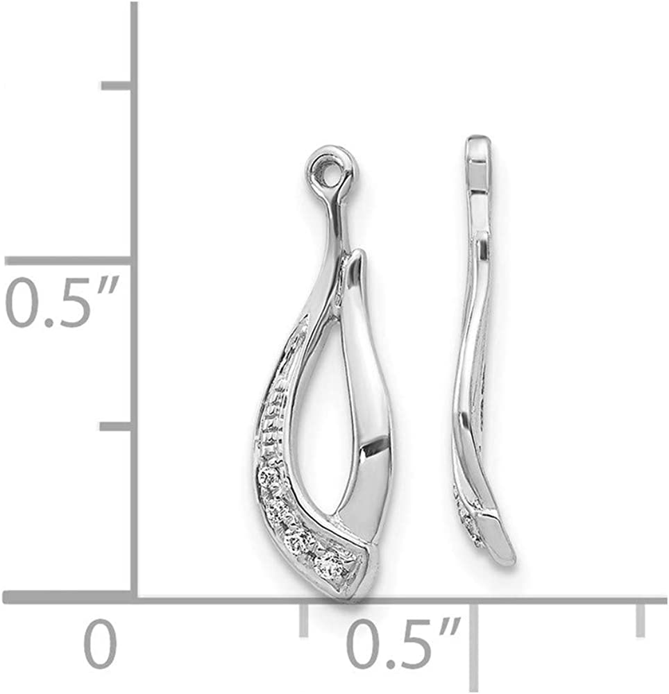 14k White Gold Twisted Teardrop Diamond Ear Jacket Jackets For Studs Fine Jewelry For Women Gifts For Her