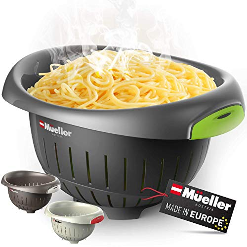 European Made Colander/Strainer, Heavy Duty Deep for Draining Pasta, Lettuce, Vegetables and Fruit, Dishwasher Safe, Grey