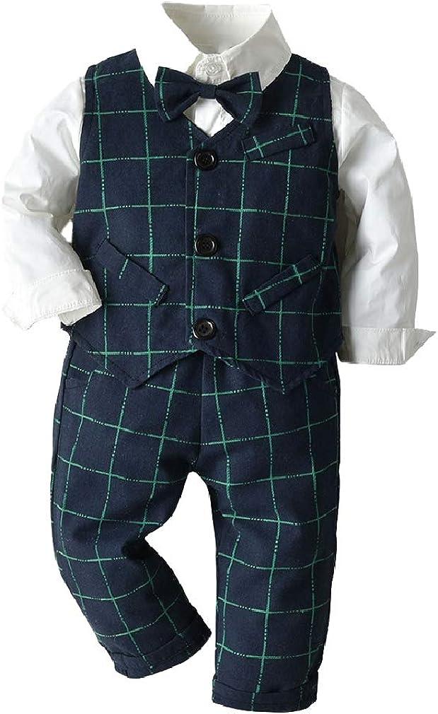 Cromoncent Baby Boy's Formal Suit 3 Piece Outfit Set