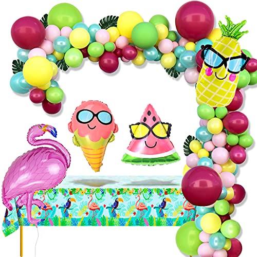 APERIL Palloncini Kit Ghirlanda Arco Tropicali Hawaiana Party Decorazione Palloncini Rosa Blu Verde Fenicottero Palloncini Party Tovaglia per Decorazioni Festa Compleanno Baby Shower Summer Spiaggia