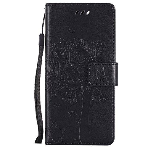 LODROC Cover Xiaomi Mi 6 Flip Cover Custodia Protettiva Caso Libro in Pelle PU con Portafoglio, Funzione Supporto, Chiusura Magnetica per Xiaomi Mi6 - LOKT0102308 Nero