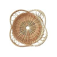 パンかご ラタンパンバスケットラウンド花びら形の手織りティートレイ食品ディナーパーティーコーヒー、朝食にご利用いただけます (Color : S)
