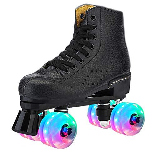 MAZI Kinder & Erwachsen Rollschuhe Vier Rollschuhe Schuhe alle Räder leuchten Kinder Jungen und Mädchen Rollschuhe neutral, Anfänger zweirädrigen Rollschuhe,Schwarz,42
