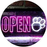 Open Paw Print Dog Cat Grooming Shop Dual Color LED看板 ネオンプレート サイン 標識 白色 + 紫 400 x 300mm st6s43-j0792-wp
