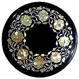 Mesa de centro redonda de mármol de 12 pulgadas con incrustaciones de MOP mesa de trabajo de artesanía india
