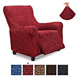 Recliner Cover - Recliner Chair Cover - Recliner Slipcover - Cotton Fabric Slipcover - 1-Piece Form Fit Stretch Stylish Furniture Protector - Mille Righe Collection - Bordeaux (Recliner)