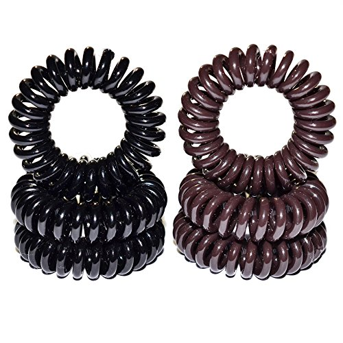 Miya Set of 6Quality Hair Rubber Plastic Mini, 3Pieces Elastic Telephone Line Cable Wire Spiral Telephone in Black and Brown Hair, Hair Accessories, R