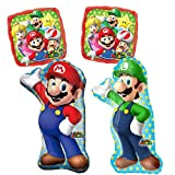 Super Mario Party Balloon Decorations - Set Of 4 Video Game Balloons For A Kids Birthday Banner Featuring Mario And Luigi From The Nintendo Game Mario Bros And Mario Kart