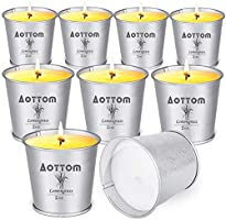 Aottom Citronella Candles, 9 Pack Citronella Scented Candles Soy Wax Lemongrass Citronella Essential Oil Portable Small...