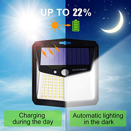 Claoner Solar Motion Sensor Lights, [128 LED/4 Packs] Outdoor Solar Lights 3 Working Modes Solar Powered Lights with 270° Wide Angle Wireless IP65 Waterproof Solar Security Lights for Yard Garage Deck