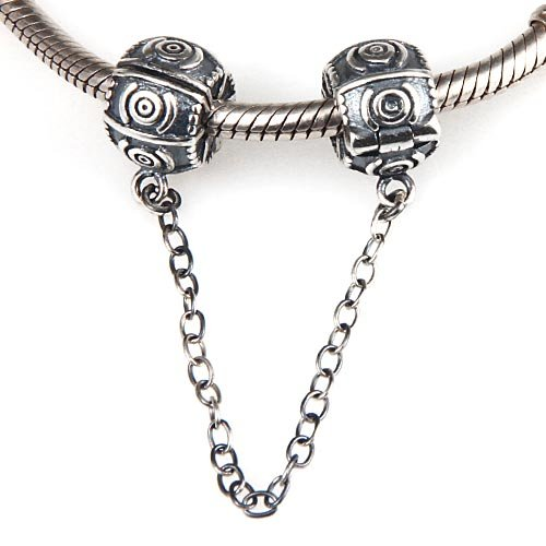 Clasp Safety Chain Charm 925 Sterling Silver Clip Stopper Charm for DIY Charm Bracelet (Circle)