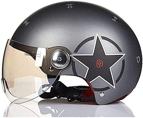 GPFFACAI Casco Integral Moto Mujer Medio Casco de Motocicleta/Medio Casco de Motocicleta Casco Jet Casco de Scooter Casco de Scooter Casco de ciclomotor Casco de Motocicleta Retro Medio Casco(Size:L