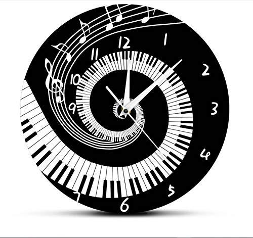 ZKHONG Orologio da Parete Moderno Note Musicali Modello Elegante Pianoforte Chiavi in Bianco E Nero Orologio da Parete Amanti della Musica Pianista Home Decor Regali