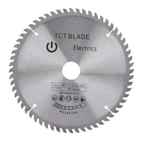 """Fafeicy 60 dientes Hoja de sierra circular, 7 """"(180 mm) Disco de corte de hoja de sierra circular de carburo, para cortar madera y plástico, 8000 rpm (Ma-x)"""