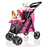 ibiyaya 4 Wheel Double Pet Stroller for Dogs and Cats, Great for Twin or Multiple pet Travel (Red Velvet)