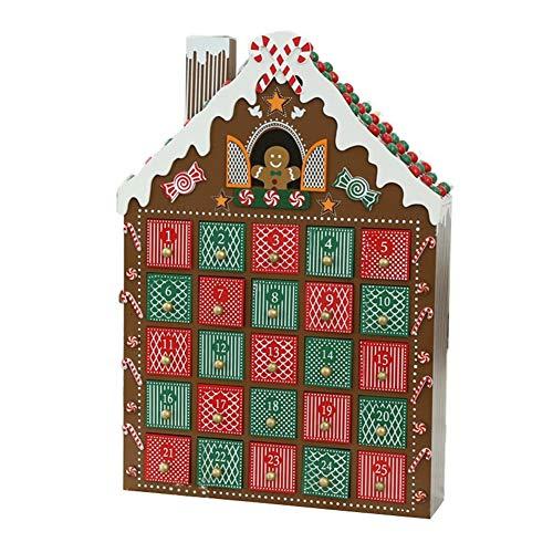 LJW A Mano Madera Calendario de Navidad Calendario de Adviento Pintado Cajón Estilo de Pan de Jengibre Decoración para el Hogar