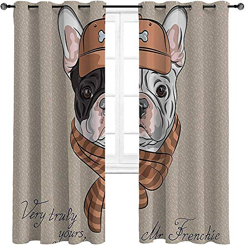 carmaxshome Vintage Decor Kids Curtains 96 inch Length, Funny Hipster French Bulldog with Cap and Lined Scarf Punk Animal Humor Graphic Art Custom Curtains 2 Panels - Ecru Pink Brown