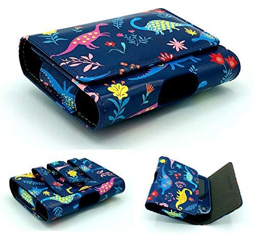 SEWAS Diabetic Care, Tasche für das Freestyle Libre Messgerät 1 und 2, Gürteltasche Blutzuckermessgerät, Diabetikertasche, Schutzcase in Blau mit tollen Dinosaurier Motiven