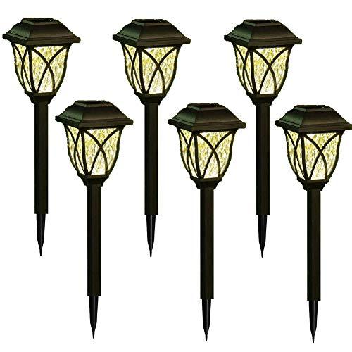 Packung mit 6 Stück Solar-Außenleuchten, kabellose wasserdichte Gartenleuchten Außenlandschaftsbeleuchtung für Rasen, Hof, Terrasse, Gehweg, Gehweg (Warmweiß)