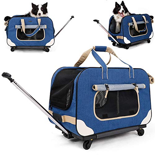 DAGUAI Cat Wheel Dog Carrier Rolling Pet Carrier with Removable Wheeled Luggage Bag,Portable Collapsible Travel Carry Crate with Durable Mesh Panels And Telescopic Walking Handle (Color : Blue)