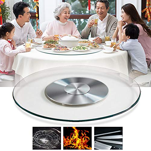 Glass Lazy Susan Turntable ø:50/60/70/80cm,Rotating Tray Serving Plate, Cake Pizza Decorating Plate, Durable Ball Bearings, Silent