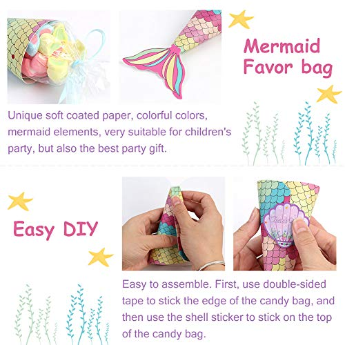 OurWarm 48pcs Mermaid Party Favors Bags Mermaid Gift Bags with Shell Stickers for Kids Birthday Party Baby Shower Decorations Mermaid Party Supplies