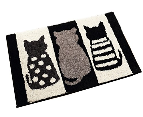 ZebraSmile Cartoon Cat Bath Room Rug Cute Water Absorption Non Slip Super Soft Microfiber Entryway Doormat for Shower Room Bathtub Side Carpet Restroom Home Indoor Entry Mat with Anti-Slip Back