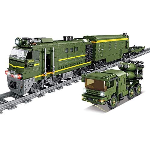 HLONGG 1270 + Parts City Freight Train Block Block Modelo con Rieles, Tren De La Ciudad con Motores Y Conjunto De Iluminación LED, Compatible con Lego,Verde