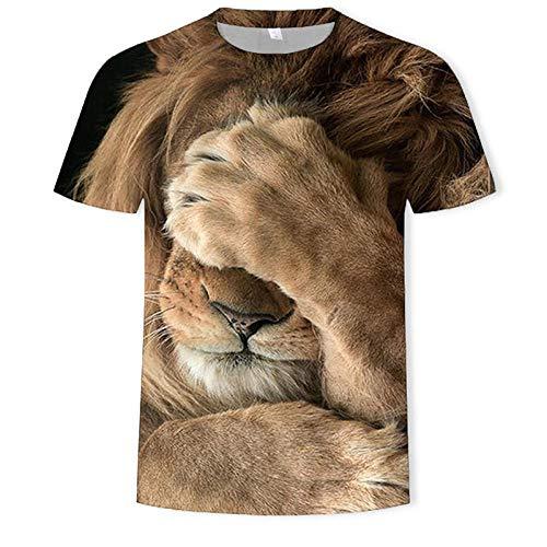 ZIXIYAWEI 3D Gedruckte T-Shirts Für Männer Herren T-Shirts Bedrucktes Tier Löwe T-Shirt Kurzarm Lustige Casual Tops T-Shirts Männliches T-Shirt Hipster Pop Shirt-3Xl