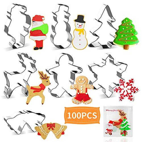 Joyoldelf Weihnachten Ausstechformen Keksausstecher - Rentier, Schneemann, Weihnachtsbaum, Schneeflocke, Lebkuchenmann, Weihnachtsmann, Glocke Keks Ausstechform mit 100 pcs Bonbonbeutel für Kinder