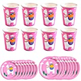 Amosfun - 24 Platos de cartón para Fiestas Infantiles, Color Rosa Alpaca (Placa de 7 Pulgadas, Placa de 9 Pulgadas y Taza para 8 Piezas Cada uno)