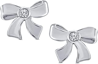 0.02 cttw Round White Natural Diamond 925 Sterling Silver Bow Baby Girl Earring