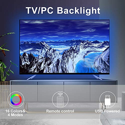 LED TV Backlight Strip, 2M/6.6Ft Total 60 LEDs RGB LED Strip Lights for 40 to 60 in HDTV Neon Light Bias Lighting with RF Remote, 5V USB Powered