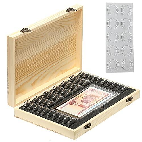 Litensh Estuche de madera para monedas, caja de colección de monedas con 40 cápsulas redondas de monedas, 100 cajas de billetes, organizador de monedas de plástico para coleccionistas de monedas de