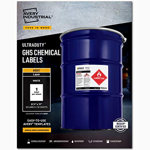 """Avery UltraDuty GHS Chemical Labels for Laser Printers, Waterproof, UV Resistant, 8.5"""" x 11"""", 50 Pack (60501), White"""