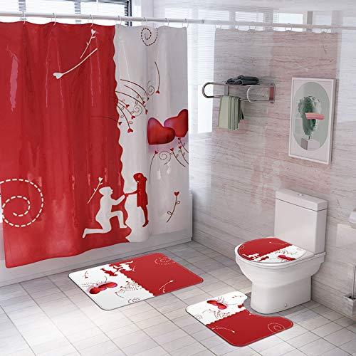 Fansu Juego de Alfombra de baño Antideslizante Tapa de Inodoro Alfombrilla de baño Cortina de Ducha, Lavable Felpudo para Cuarto de baño Enamorado Impresión (Pareja,Conjunto de 4 Piezas)