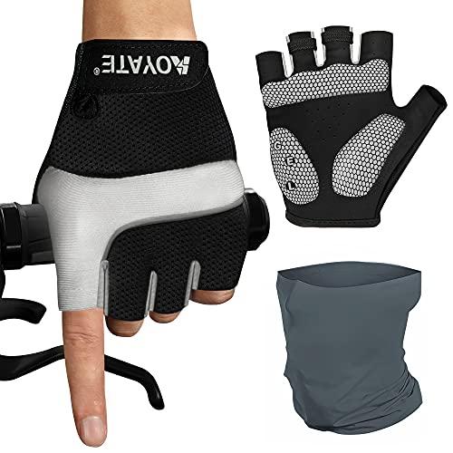 AOYATE-EU Guanti da ciclismo, guanti sportivi da ciclismo, antiscivolo, ammortizzanti, guanti da mountain bike, con Multiuso Fascia Bandana Elastica Scaldacollo.Taglia-M