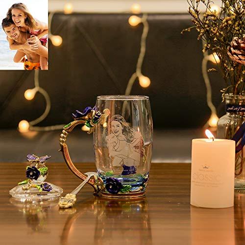 ASD Jewerly Taza De Té con Foto Personalizada con Tapa, Taza De Té De Vidrio Personalizada, Taza De Té De Alta Gama, Regalos para Damas, Tazas De Té para Damas