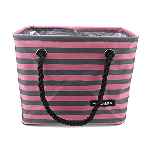 IKENOKOI スパバッグ スキンケア用品・バス用品収納 お風呂バッグ 温泉バッグ 防水 折りたたみ (ピンク 横縞)