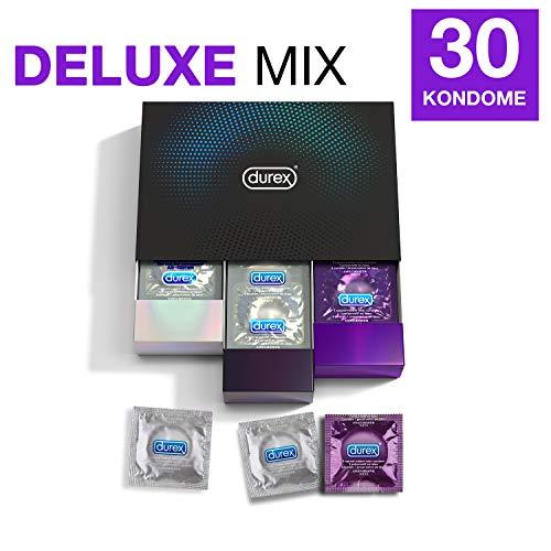 Durex Surprise Me Deluxe condooms, in stijlvolle doos, spannende verscheidenheid, praktisch en discreet verpakt, voor extra stimulatie en intensieve bevrediging, verpakking met 30 stuks