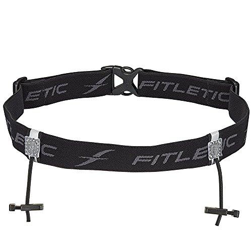 Fitletic Race Bib Belt Race Number Belt Race Bib Holder   for Triathlon, Trail Running, Marathon, Ironman, 5k, 10k   Race 1, Black   RN01-01