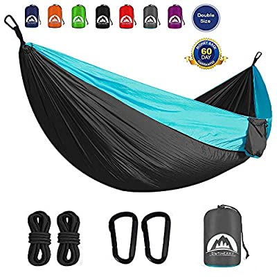 SWTMERRY Hammock Camping Double, Backpacking Hammock with Tree Straps for Backpacking, Travel, Beach, Backyard, Patio, Hiking (Dark Gray & Light Blue)