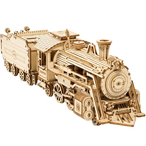 ROKR 3D Puzzles for Adults Wooden Toy Train Models Kits to Build Prime Steam Express