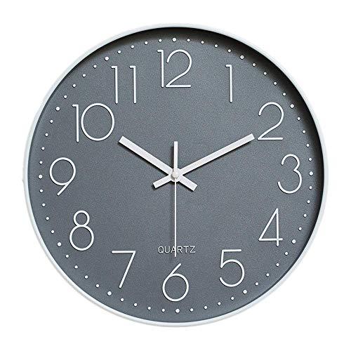 HZDHCLH 30cm Modern Quartz Lautlos Wanduhr Schleichende Sekunde mit Arabisch Ziffer ohne Ticken für Dekoration Wohnzimmer, Küche, Büro, Schlafzimmer (Grau)