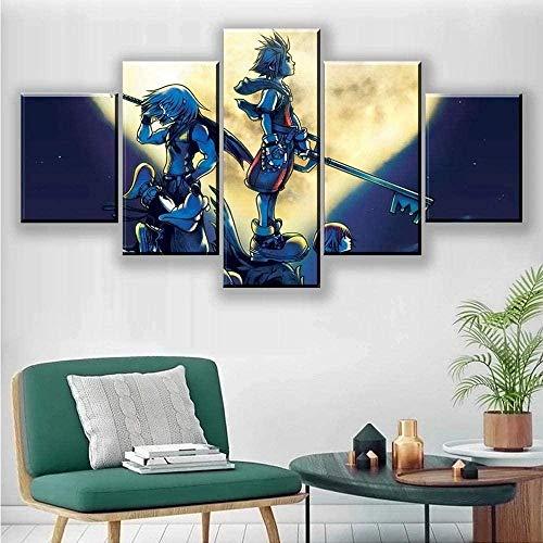 wodclockyui 5 Piezas Cuadro de Lienzo- Kingdom Hearts Pintura 5 Impresiones de imágenes Decoración de Pared para el hogar Pinturas y Carteles de Arte HD 200cmx100cm sin Marco