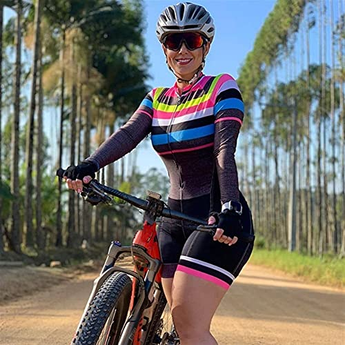 Triathlon Damen Radsport Overall Langarm Fahrradbekleidung Fahrradtrikot Sets Reittrikot Skinsuit Anzug (Color : 3, Size : 3XL)