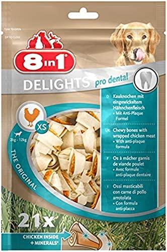 8in1Dental Delights valor bolsa–Crujiente huesos para perros–tamaño XS